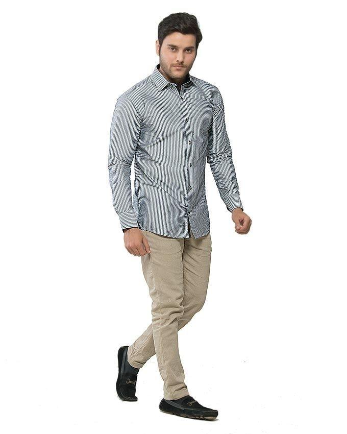 ACLIPSE - Grey Blended Cotton Striped Shirt for Men