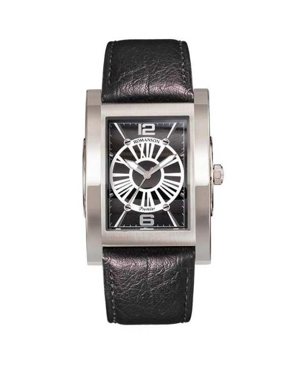 Romanson Black Genuine Leather Swiss Quartz Wrist Watch PL6152 MW BK