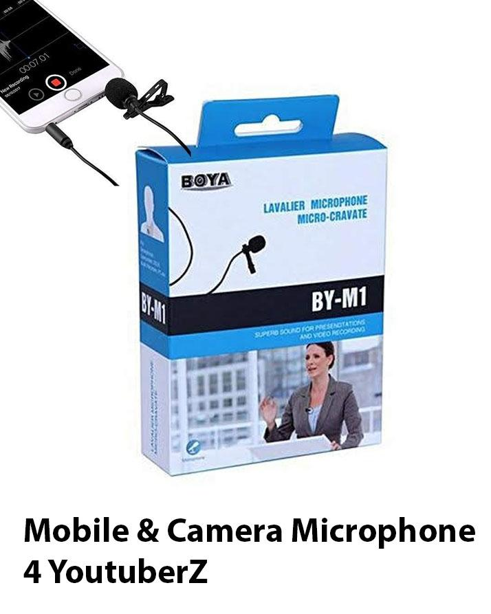 Mobile Mic Lavalier Microphone for all Devices Mobile Device n YouTuberZ - M1 - Black