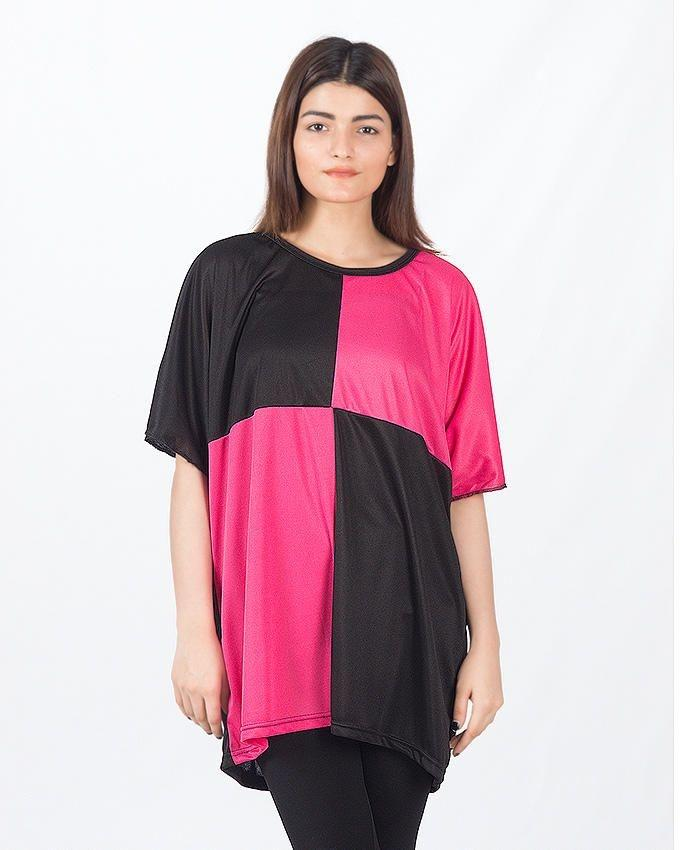Pink & Black Polyester Boxes Top For Women