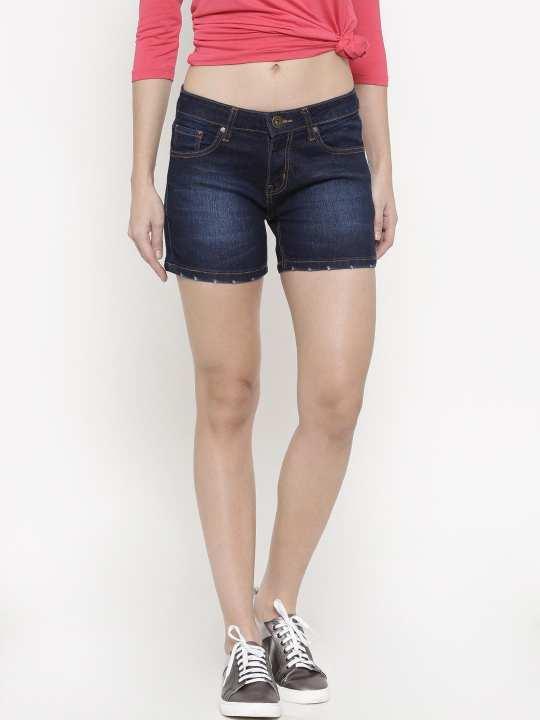 Faded Blue Mini Denim Shorts For Women