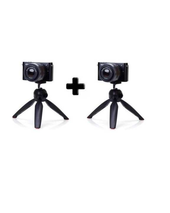 Pack of 2 - YT-228 - Mini Tripod For Mobile Phones & Camera With Mobile Clip - Black