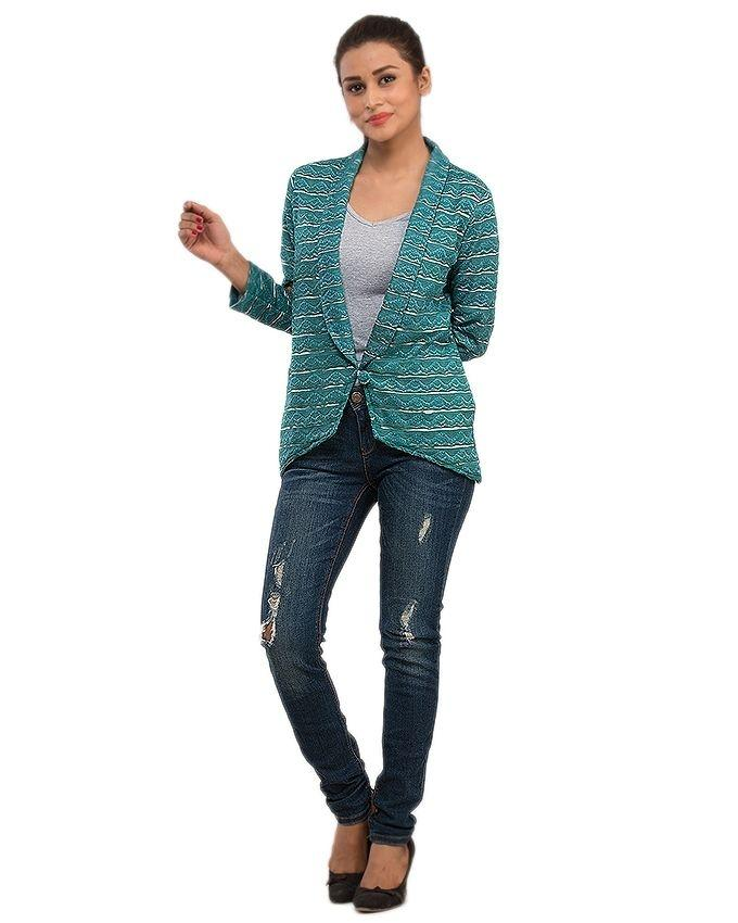 Dark Green Lace Printed Blazer with Inner Lining for Women - 13996