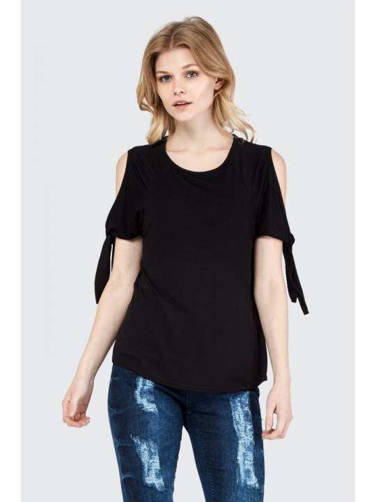 Black Knotted Cold Shoulder T-Shirt For Women