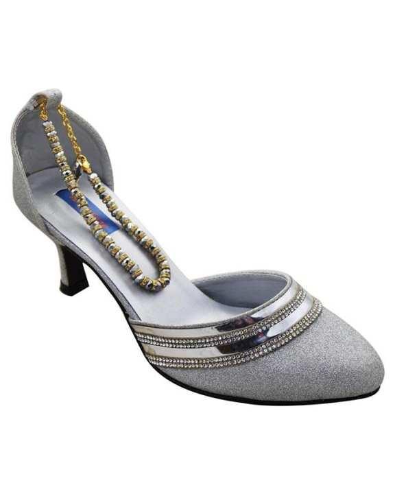 Silver Medium Heels Shoes For Women