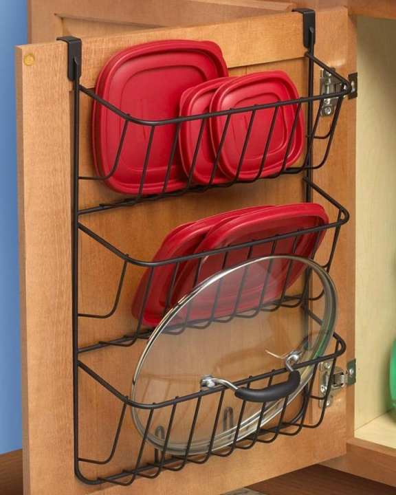 Luxury Stainless Steel Over The Cabinet 3-Tier Lid Holder