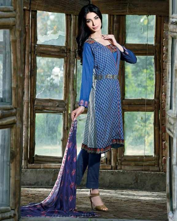 Mughal Blue - Lawn Lala Signature Series 3Pc - Unstitched dress for women