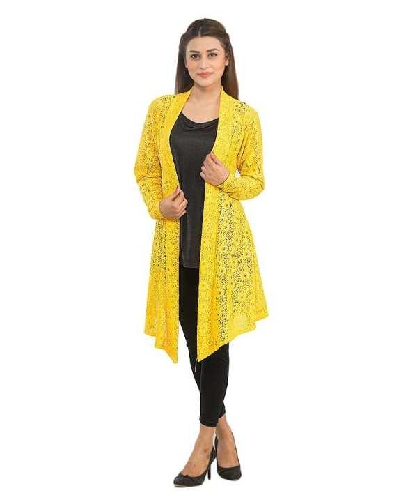 Yellow Net Long Shrug for Women - AS-222