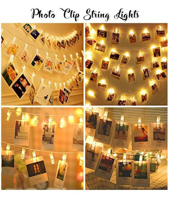 Photo Clips String Lights Starry Light Wall Decoration Light For Hanging Photos Paintings Pictures