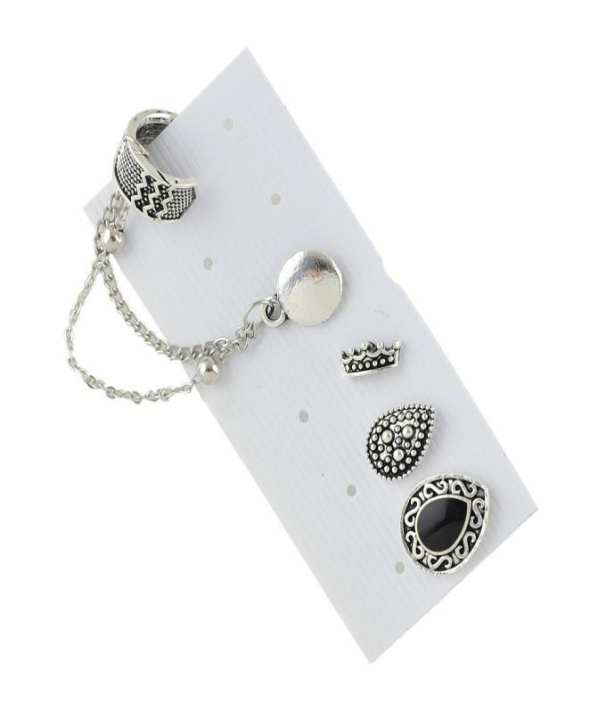 Pack of 4 - Antique Silver Alloy Stud Earrings for Women
