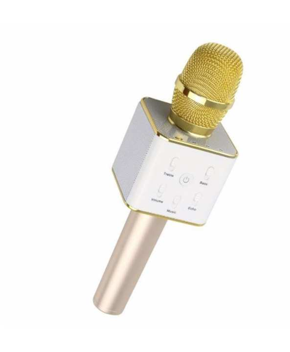 Bluetooth Microphone Wireless Microphone Q7 Mic Speaker Ktv Super Bass Portable Speaker - Golden
