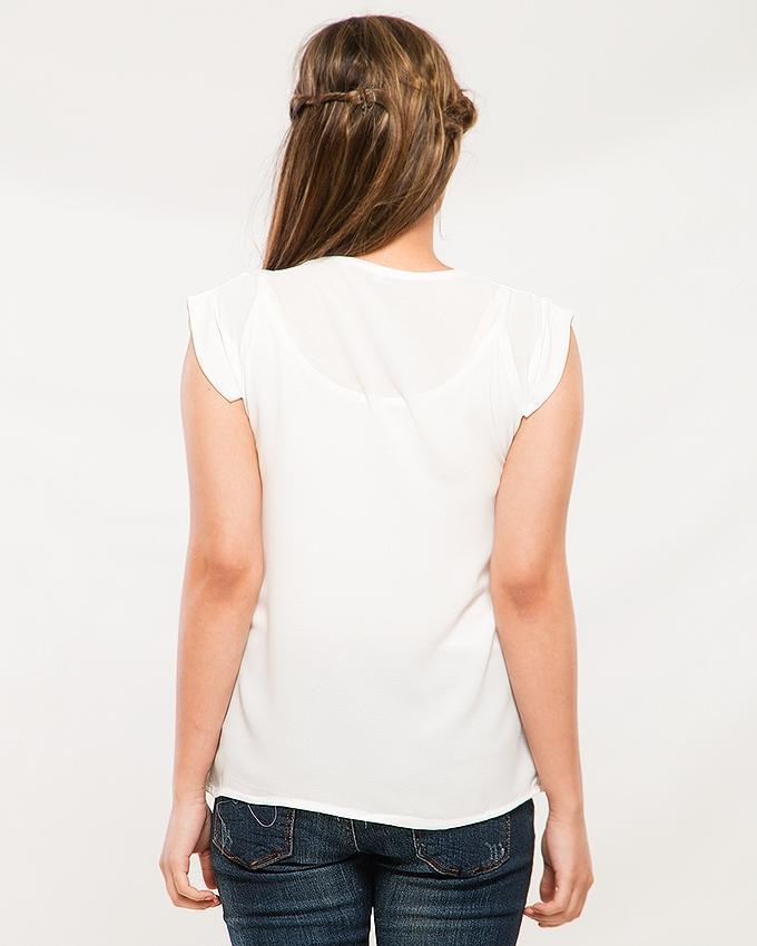 White Color Chiffon Plain Silk T-Shirt for Women & Girls