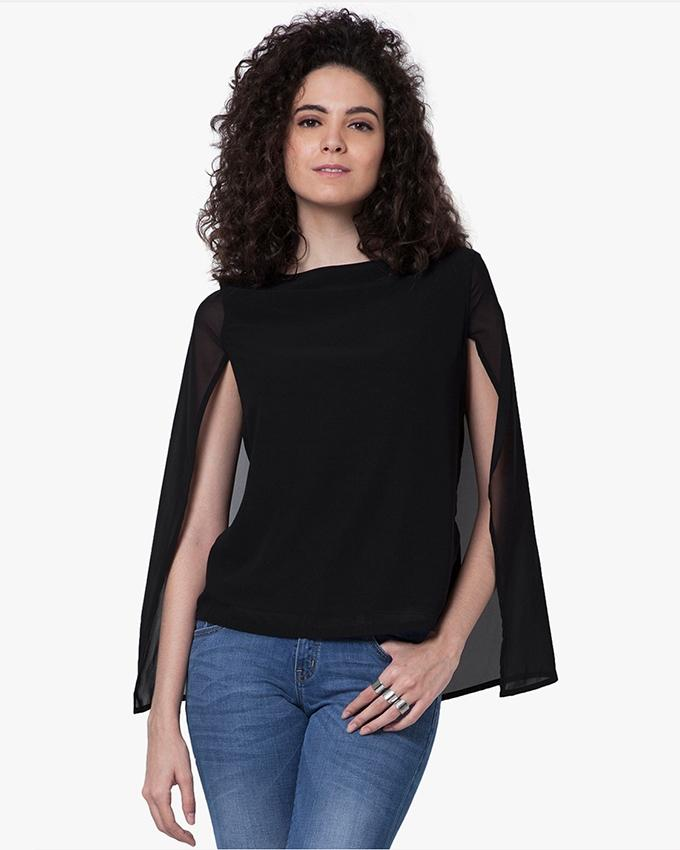 Black Chiffon Top For Women - SI-301
