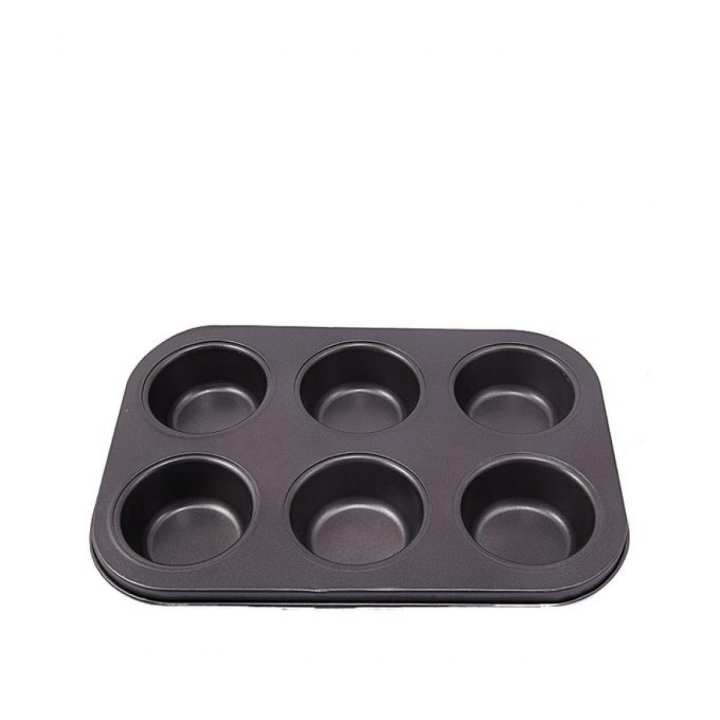 6 Cupcakes Baking Tray - Black