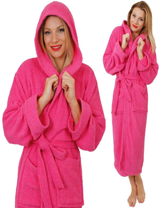 18cf5d52cd Pink Adults Hooded Bathrobe 100% Cotton Robe Mens Ladies Dressing Gown  Towelling