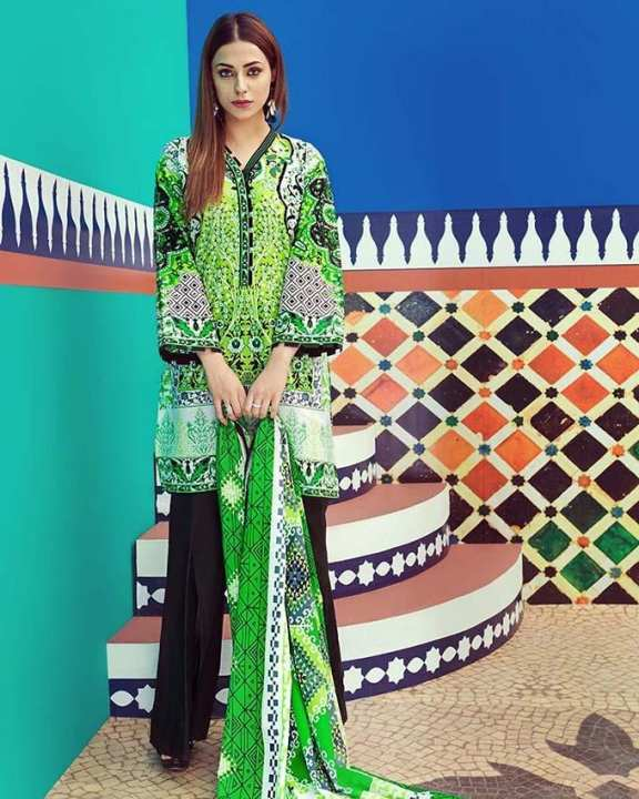 Green Normal Printed 2 Pcs (D/S)-Unstitched