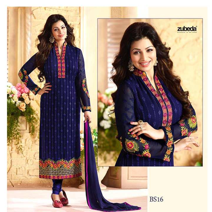 Navy Blue Chiffon Embroidered Suit For Women - 3 Piece - Bs 16