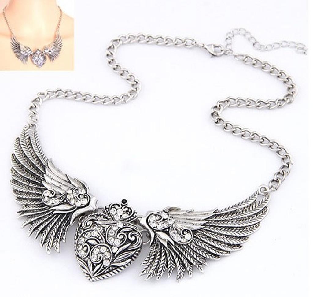NéonKrallık Celestial Guardian Angel Choker (Silver)