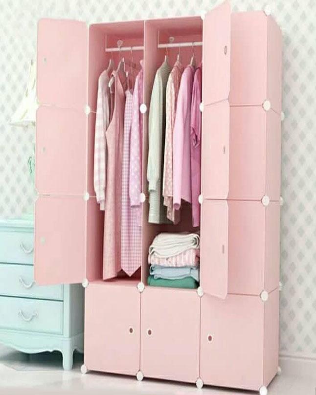 Diy Plastic Clothes Organizer Shoes Cabinet Wardrobe Pink