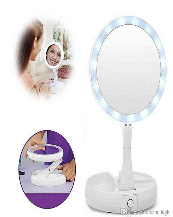 Fold Away Led Makeup Mirror Double-Sided Rotation Folding Usb Lighted Vanity Mirror Touch Screen