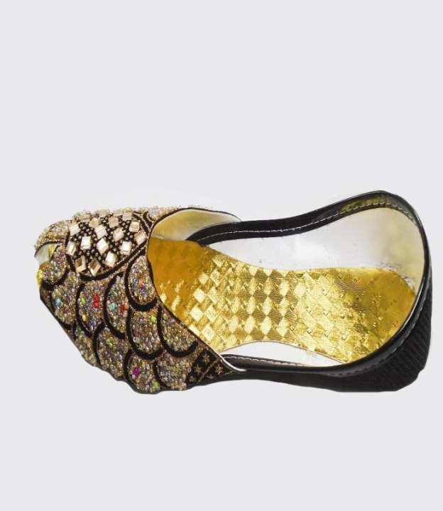 Golden & Black Synthetic Fancy Khussa For Women - 250-50629