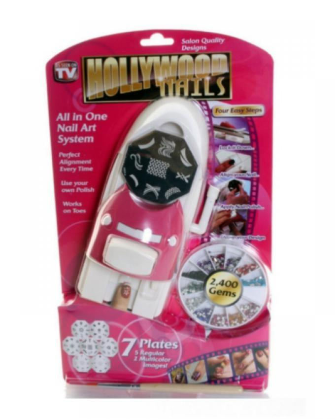 All in 1 - Hollywood Nails Nail Art Kit - Pink & White