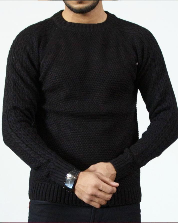 Black Woolen Sweater For Men
