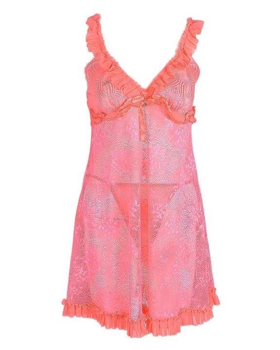 Pink Net Nightwear for Women - 8768P