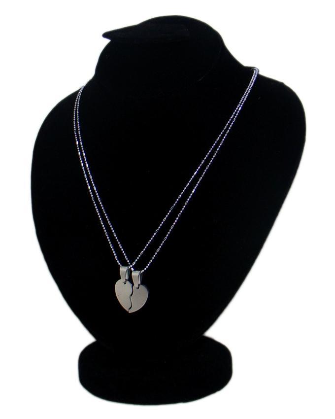 Silver Stainless Steel 2pc Love Heart Pendant for Women