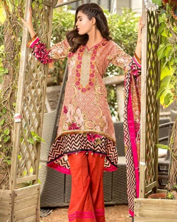 Iraar Semi Stitched Embroided Cambric Cotton B 3 -  3Pcs Suit by Chase Value Center