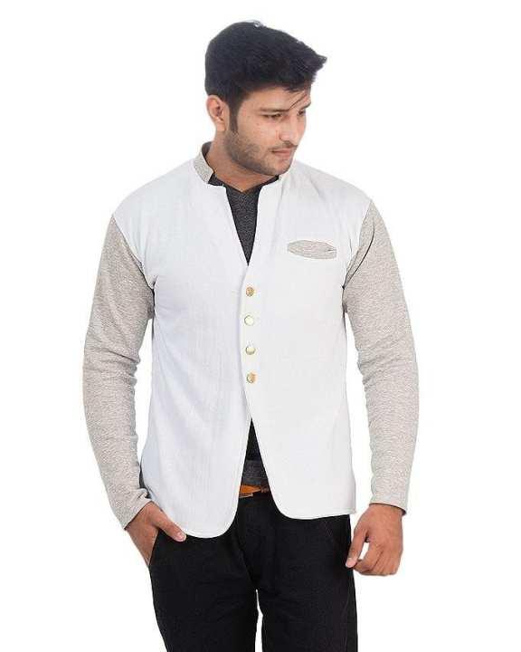 White & Grey - Fleece - Pocket Coat For Men