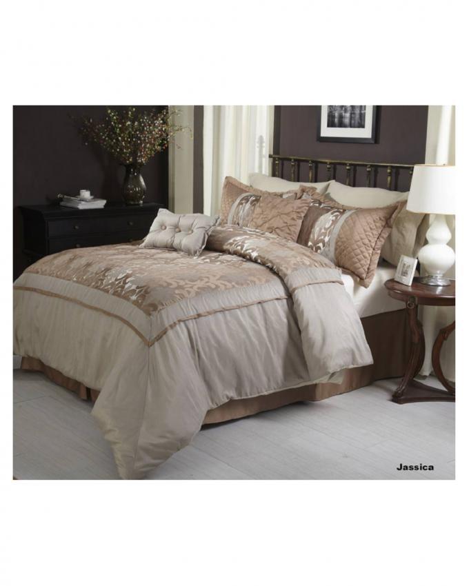 Golden King Size Jacquard Comforter Set - 9 pcs