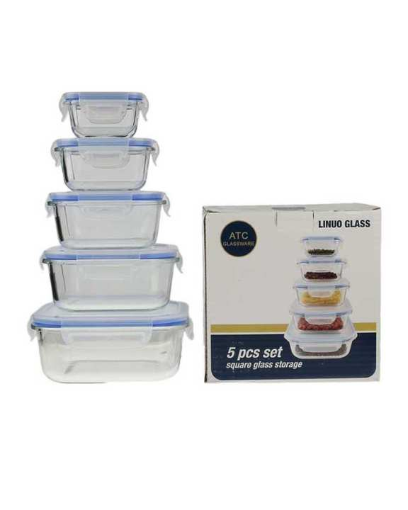 Premium Glass Leak Proof & Airtight Food Storage Containers - 5 Pcs Rectangular Bowl Set