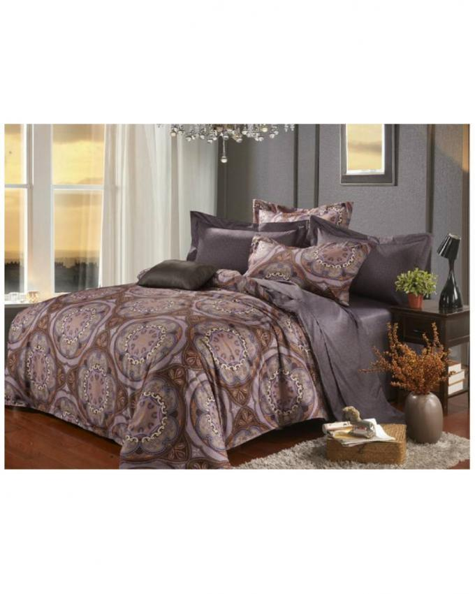 Grey Satin Printed Bedsheet & Comforter Set - 6 pcs
