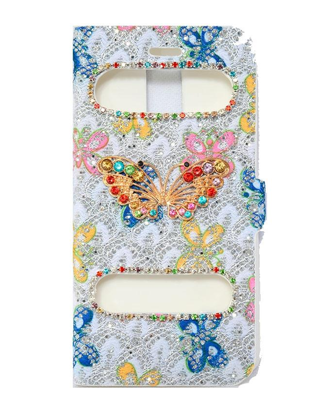 Butterfly Design Flip Case Cover For Samsung Note 4  - Multicolour