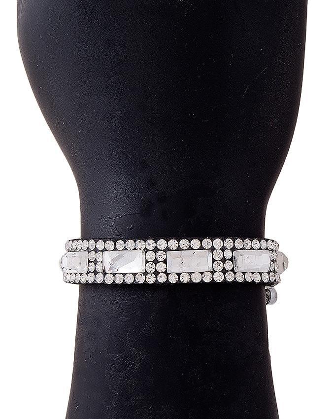 Silver Velvet & Crystals Zircon Bracelet for Women - J-106