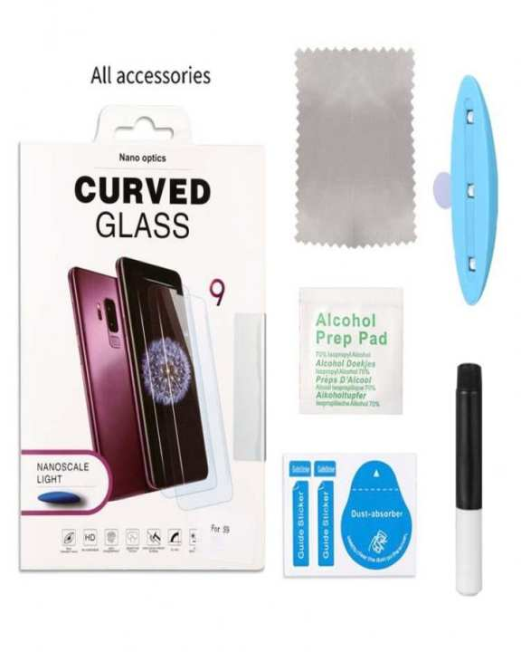 Galaxy S8 Plus Uv Nano Liquid Glue 3D Curved Tempered Glass With Scale Light
