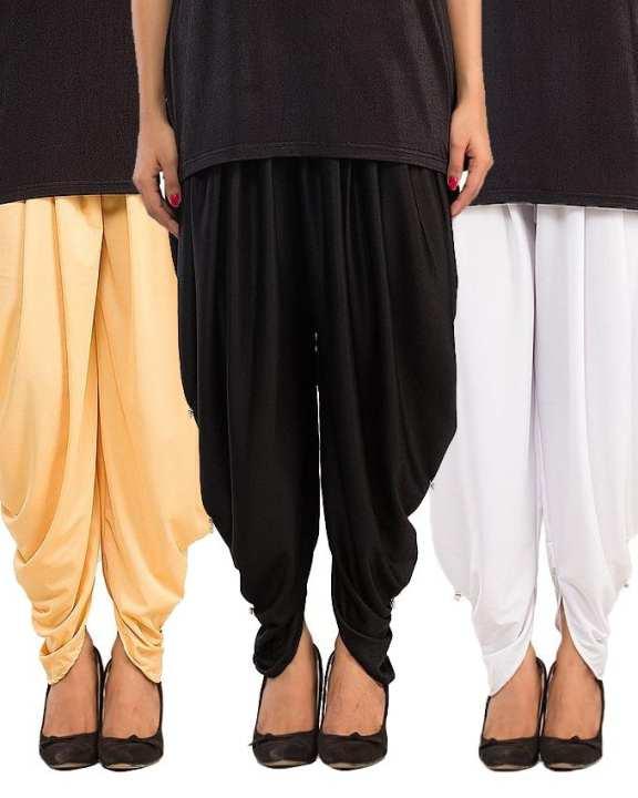 Pack of 3 - Cotton Lycra Tulip Shalwar for Women