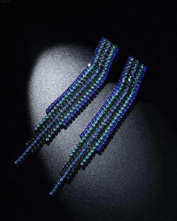 Colorful Rhinestone Long Chain Crystal Drop Earrings For Women Jewelry 2017 Statement Earring