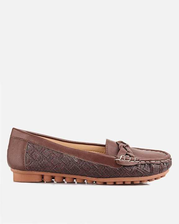 Brown Thermo Plastic Rubber & Synthetic Leather Loafers For Women - Nancy 6064