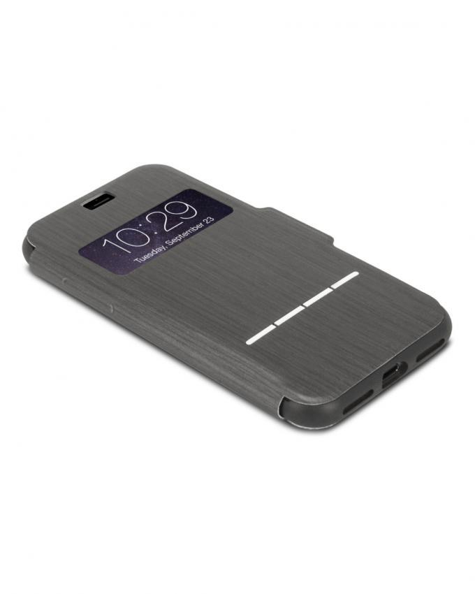 Touch Sensitive Flip Case for iPhone 7 - Charcoal Black