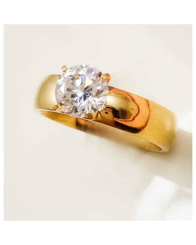 European Golden Plated Simulated Diamond Ring For Girls
