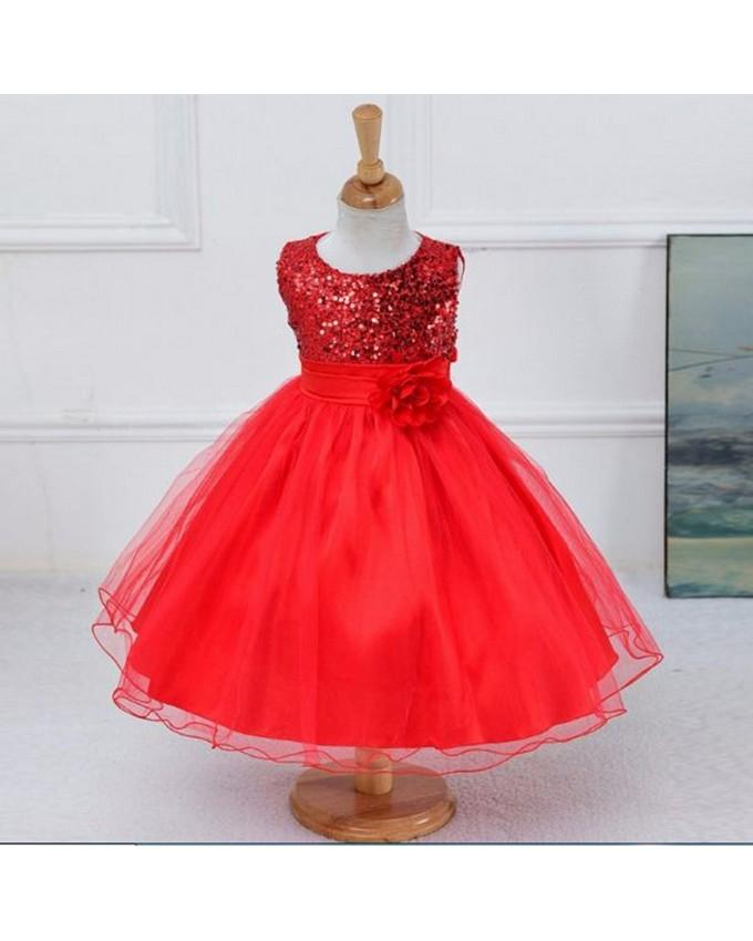 53343eae487 Kinder Red - Fancy Chiffon Embroidery Red Frock