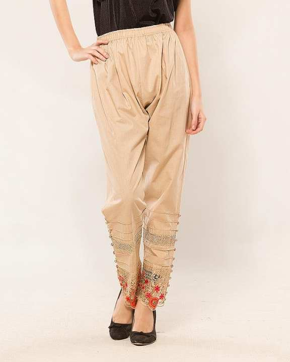 Skin Cotton Embroidered Pants for Women