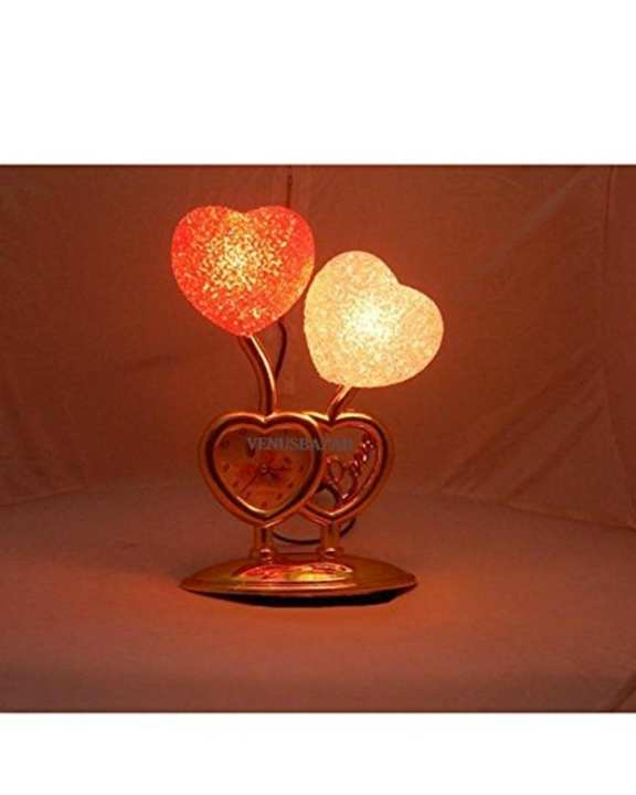 3D Clock Two Led Heart Clock Table Lamp Clock Night Light Lamp Wedding Gift