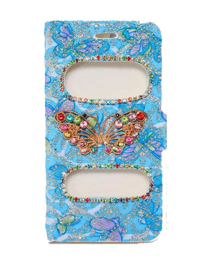 Butterfly Design Flip Case For iPhone 6 & 6S - Blue