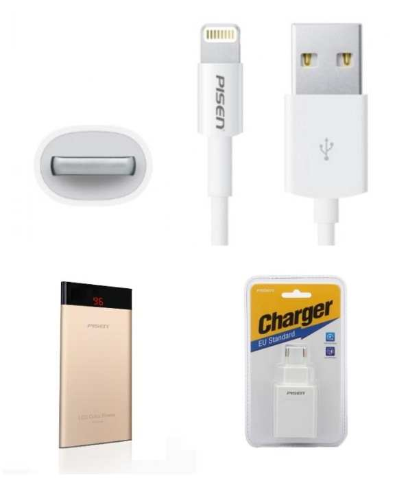 Pack of 3 - Power Bank,  Lightning Cable & Dual Wall Charger - White & Golden