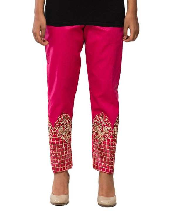 Pink Cotton Cigarette Pant for Women