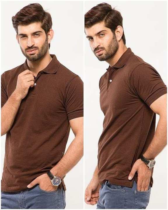 Brown Cotton Polo Shirt for Men