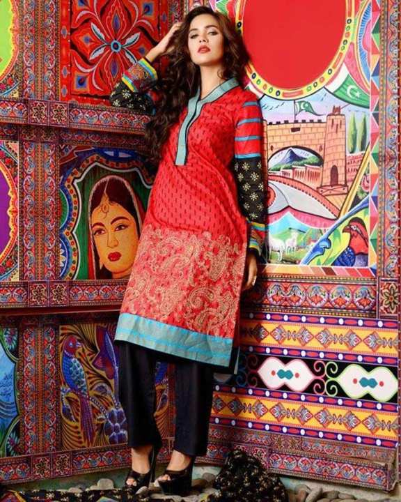 Red Lawn Embroidered 3 Piece Unstitched Suit for Women - MAS-9B1000036499276